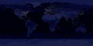 Earth at night. Credit: C. Mayhew & R. Simmon (NASA/GSFC), NOAA/NGDC, DMSP Digital Archive - <b>Click on image for a larger version</b>